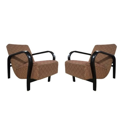 Pair of Jindřich Halabala arm chairs, 1940s