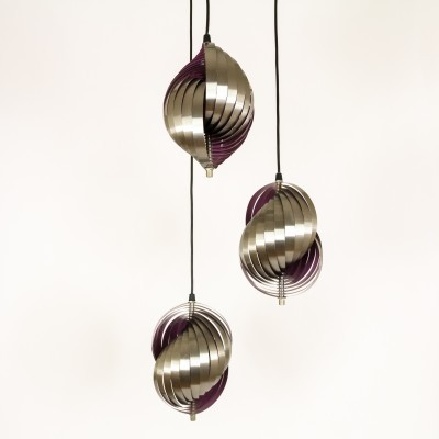 Metal Pendant designed by Henri Mathieu in purple, 1970s
