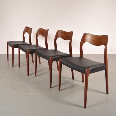 Set of 4 dinner chairs from the fifties by Niels Otto Møller for Moller