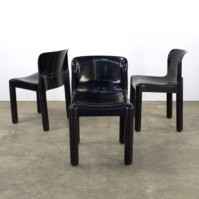 Set of 3 model 4875 dining chairs by Carlo Bartoli for Kartell, 1970s