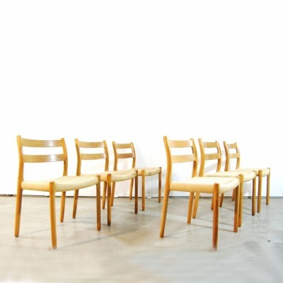 Set of 6 Model No 84 dinner chairs from the seventies by Niels Otto Møller for JL Møller Møbelfabrik