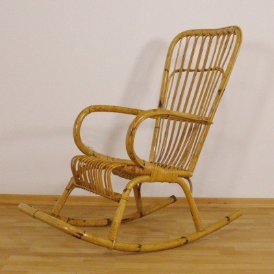 Bamboo rocking chair from the fifties by unknown designer for unknown producer