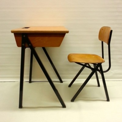 School Desk And Chair children furniture from the sixties by unknown designer for unknown producer