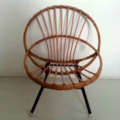 Rattan Chair children furniture from the fifties by unknown designer for Rohé Noordwolde