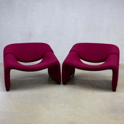 2 F598 lounge chairs from the seventies by Pierre Paulin for Artifort