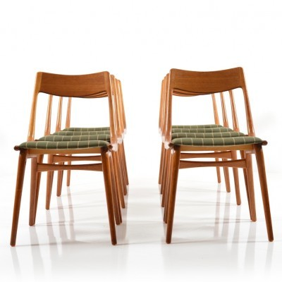 Set of 8 Boomerang No. 370 dinner chairs from the fifties by Alfred Christensen for Slagelse Møbelværk