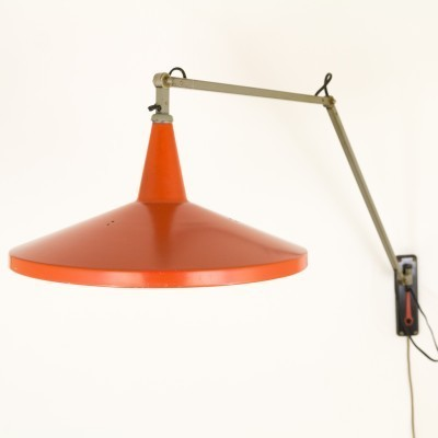 Red Panama wall lamp by Wim Rietveld for Gispen, 1950s