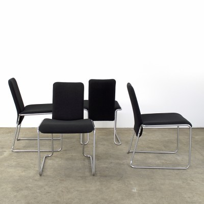Set of 4 dinner chairs from the eighties by Walter Antonis for Hennie de Jong