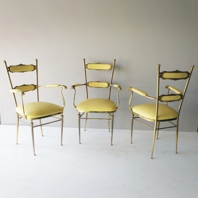 3 brass French chairs
