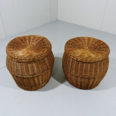 Set of 2 Rattan stools with storage space stools from the sixties by unknown designer for unknown producer