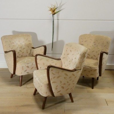 Set of 3 Cocktail lounge chairs from the fifties by unknown designer for unknown producer