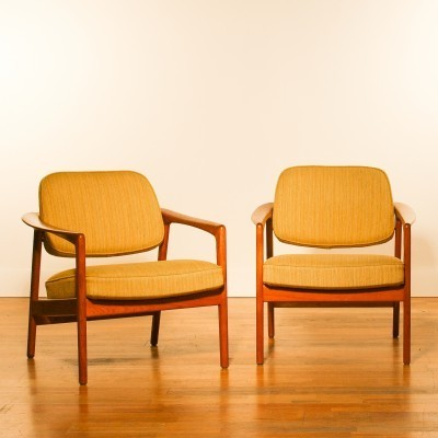 Set of 2 lounge chairs from the fifties by Folke Ohlsson for Dux