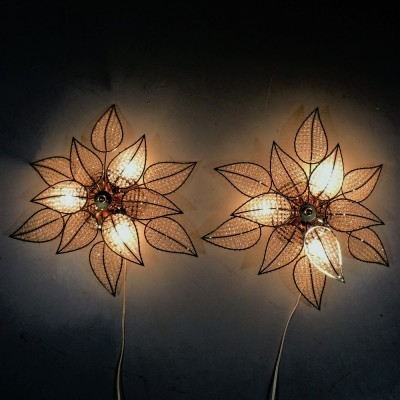 Set of 2 Hollywood Regency wall lamps from the seventies by unknown designer for unknown producer
