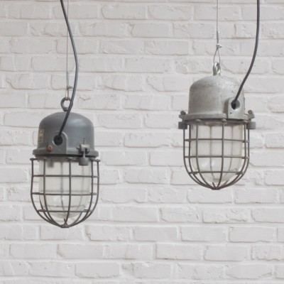 4 x Explosion-proof Cage hanging lamp, 1950s