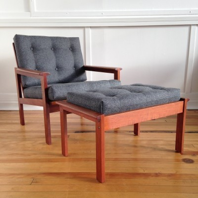 Mid Century Danish Teak Capella Armchair Easy Chair & Footstool by Illum Wikkelso for Niels Eilersen