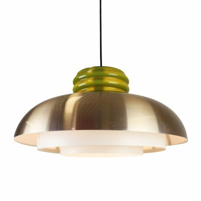 Quality pendant with metal diffuser & glass top produced in the seventies by Dijkstra Lampen