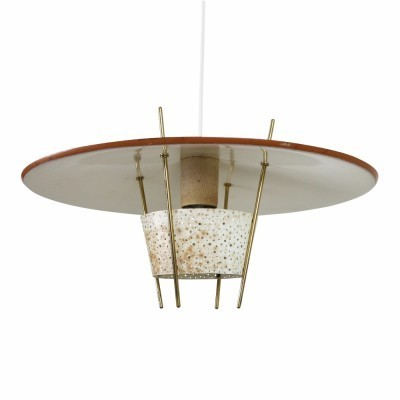 Wonderful brick red pendant from the fifties with a perforated metal diffuser