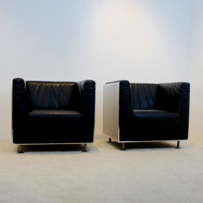 Set of 2 lounge chairs from the eighties by Kunihide Oshinomi for Matteo Grassi