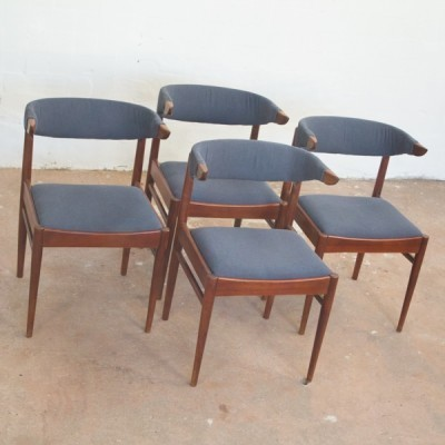 Set of 4 Cowhorn dining chairs, 1960s