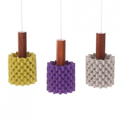Set of 3 hanging lamps from the sixties by Niels Esmann & Hans C. Jensen for Nordisk Solar