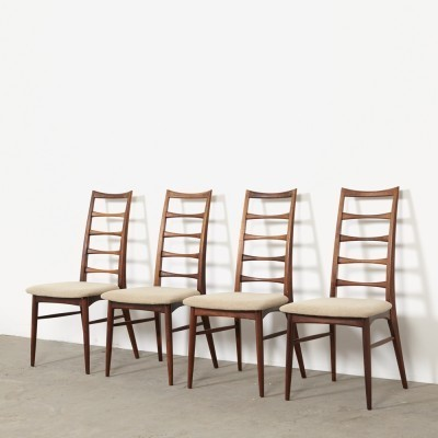 Set of 4 LIS dinner chairs from the sixties by Niels Kofoed for Hornslet Møbelfabrik