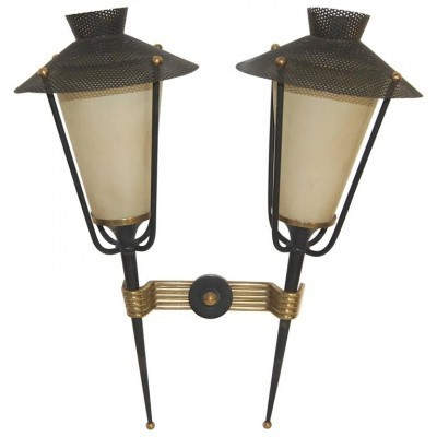 Lantern wall lamp from the fifties by unknown designer for Maison Arlus