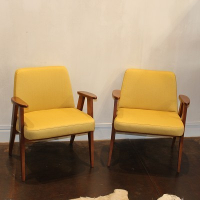 Set of 2 model 366 arm chairs from the sixties by unknown designer for Józef Chierowski