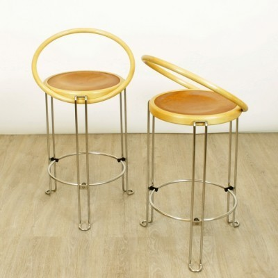 Set of 2 Oblado stools from the eighties by Borge Lindau for Bla Station