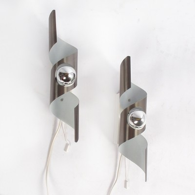 Pair of Wokkel wall lamps by Raak Amsterdam, 1960s
