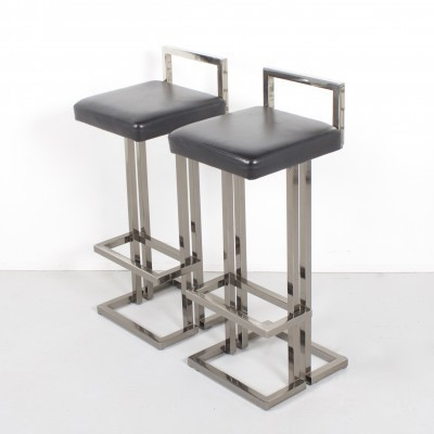 2 stools from the eighties by unknown designer for Maison Jansen