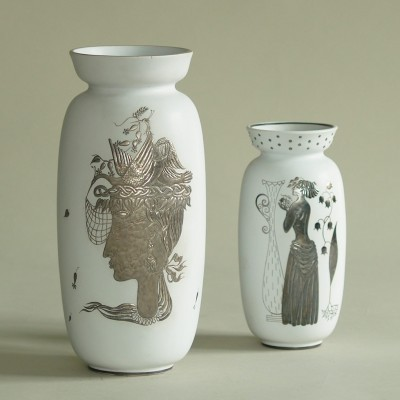 Set of 2 Grazia vases from the thirties by Stig Lindberg for Gustavsberg