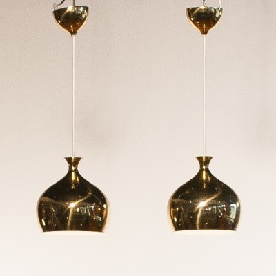 Pair of Onion hanging lamps by Helge Zimdal for Falkenberg, 1950s