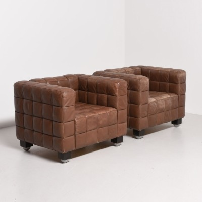 Set of 2 Kubus lounge chairs from the twenties by Josef Hoffmann for Wittmann