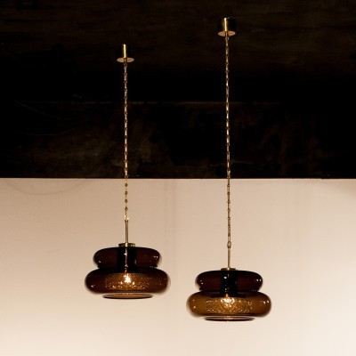 Set of 2 Bubblan hanging lamps from the sixties by Carl Fagerlund for Orrefors