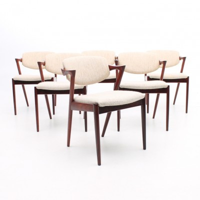 Set of 6 Model 42 arm chairs from the sixties by Kai Kristiansen for Skovmand & Andersen