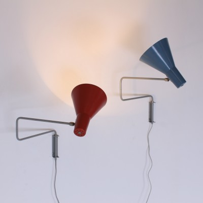 2 Paperclip Elbow wall lamps from the fifties by J. Hoogervorst for Anvia Almelo