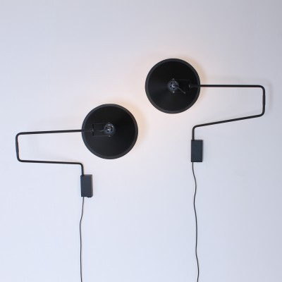 2 Elbow Paperclip wall lamps from the sixties by J. Hoogervorst for Anvia Almelo