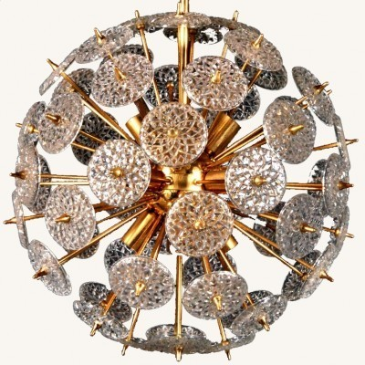 2 Sputnik Crystal Discs Chandelier hanging lamps from the seventies by unknown designer for Val Saint Lambert
