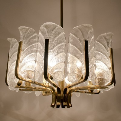 2 Leaves Chandelier hanging lamps from the sixties by Carl Fagerlund for Orrefors