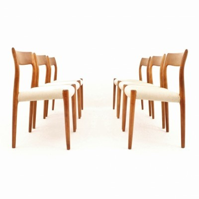 Set of 6 Model 77 dinner chairs from the fifties by Niels Otto Møller for J L Møller