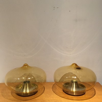 Set of 2 ceiling lamps from the sixties by unknown designer for Dijkstra Lampen
