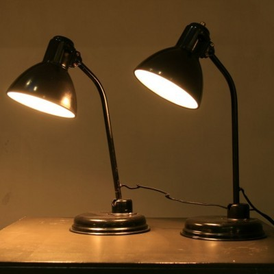 2 Model 6556 desk lamps from the twenties by Christian Dell for unknown producer