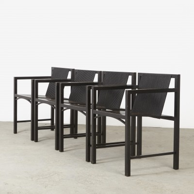 Set of 4 Slat armchair dining chairs by Ruud Jan Kokke for Metaform, 1980s