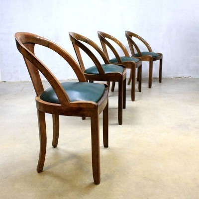 Set of 4 dinner chairs from the thirties by unknown designer for unknown producer