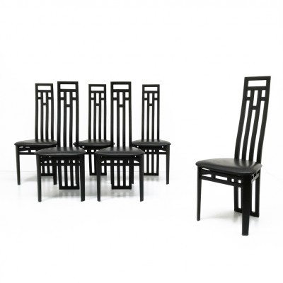 Set of 6 dinner chairs from the eighties by unknown designer for A. Sibau