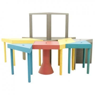 Set of 8 Tangram side tables from the eighties by Massimo Morozzi for Cassina
