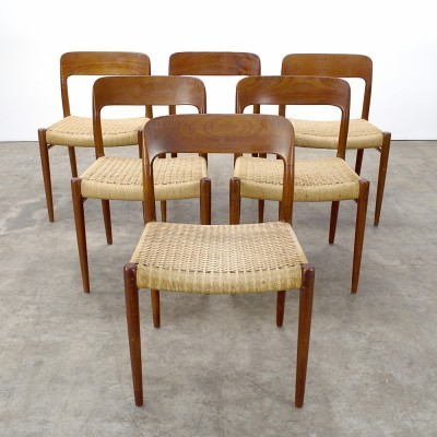 Set of 6 Model 75 dinner chairs from the sixties by Niels O. Møller for J L Møller