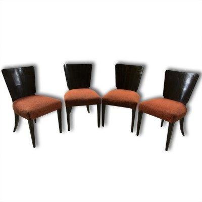 Set of 4 H-214 dinner chairs by Jindřich Halabala for UP Závody, 1940s