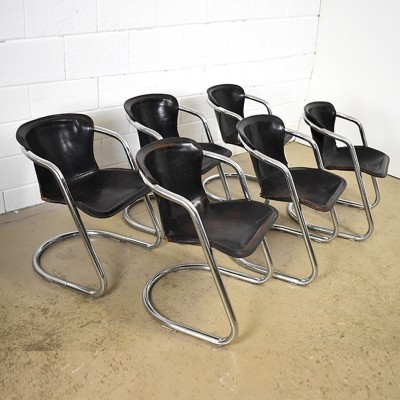 Set of 6 dinner chairs from the seventies by Willy Rizzo for Cidue