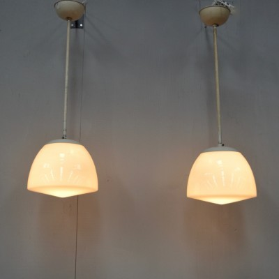 2 hanging lamps from the thirties by W. Gispen for Giso